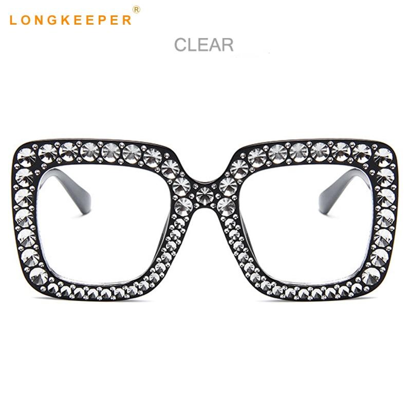 fd9571be0f Long Keeper Big Square Oversize Eye Glasses Women Men Imitation Diamonds  Fashion Clear Glasses Frame Brand