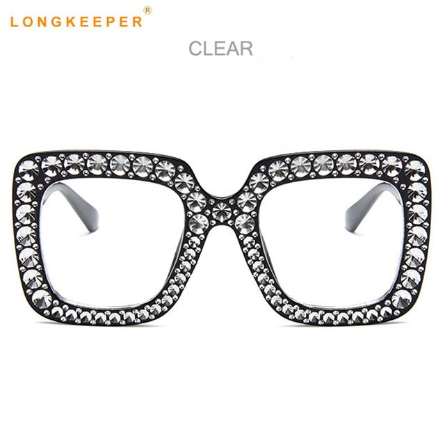 a29f8c5b98 Long Keeper Big Square Oversize Eye Glasses Women Men Imitation Diamonds  Fashion Clear Glasses Frame Brand Designer UV400 Retro