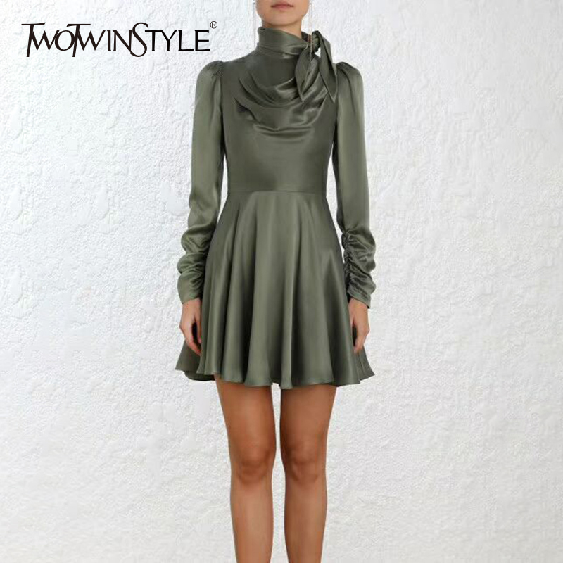 TWOTWINSTYLE Bow Collar Dresses Female High Waist Lace Up Long Sleeve Mini A Line Dress For