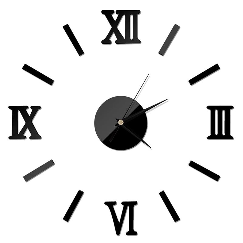 3D DIY Wall Clock Modern Frameless Large Mirror Surface Effect Wall Clock For Home Living Room Bedroom Decoration (Black)