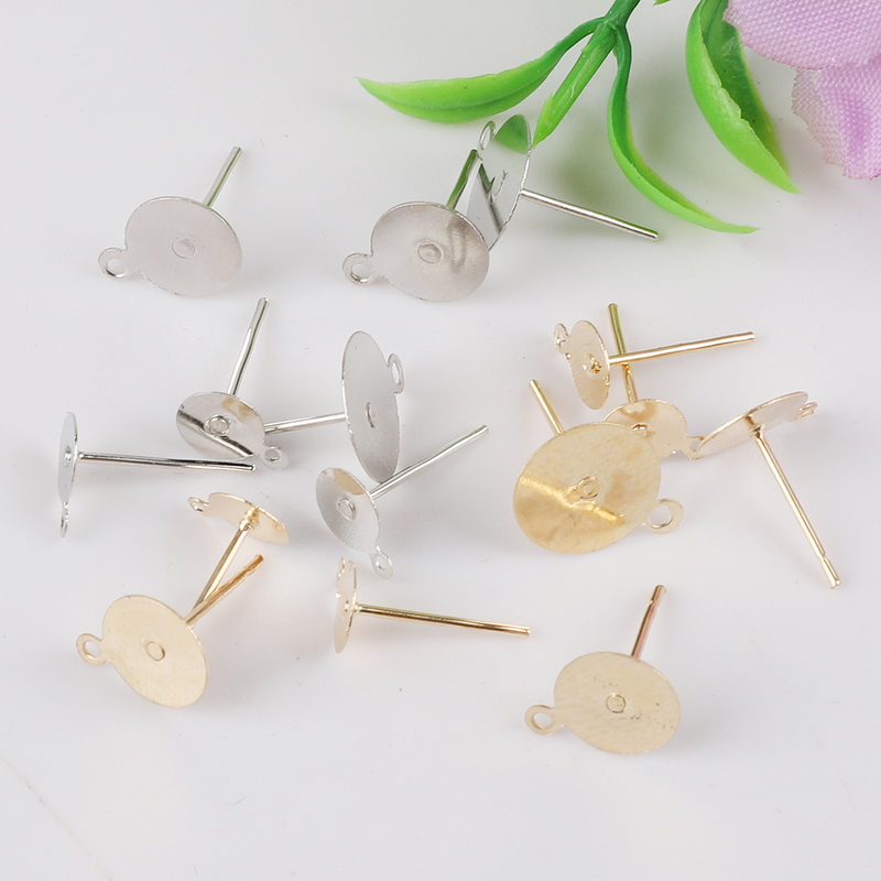 New 100pcs/lot Stud Earring Blank Base Fit 6 8 10mm Settings Gold/Silver Color Ear Post DIY Jewelry Making