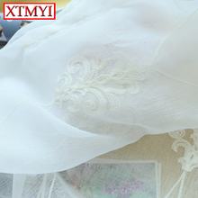 Solid White Embroidered tulle Curtains for living room sheer linen curtains window for girls bedroom Custom Made