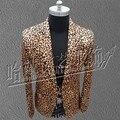 S-5XL! 2017 Nueva ropa de Hombre Delgado Masculino Gd Leopardo traje traje más tamaño trajes del Cantante ds rendimiento de desgaste prendas de vestir exteriores