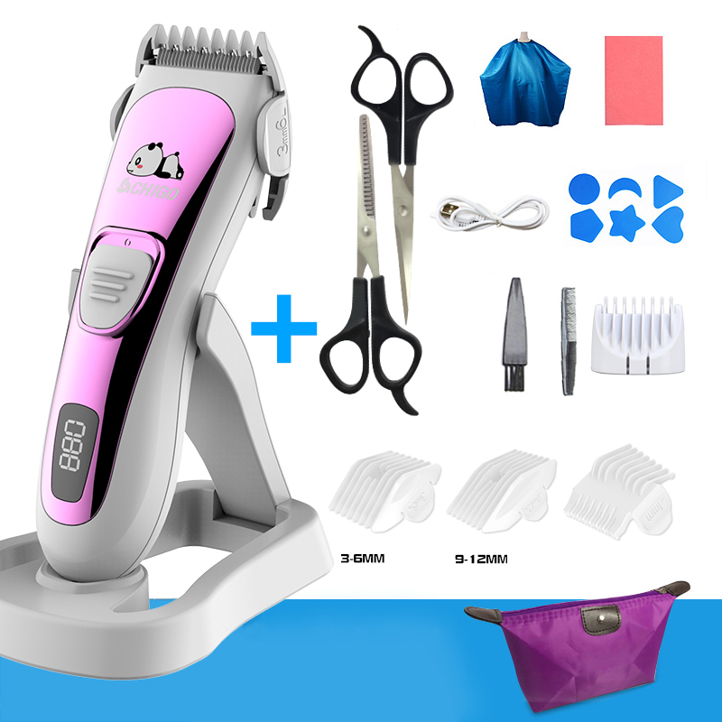 Baby Hair Clipper Ultra-quiet Rechargeable Trimmer For Hair Cutting Wash Through Water Hair Clipper For Children Foldable Base