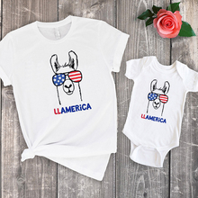 Mommy Daddy Baby LLAMERICA Tshirt 4th of July Matching Shirts and Me Tops Outfits America Tee 2019 New Fashion