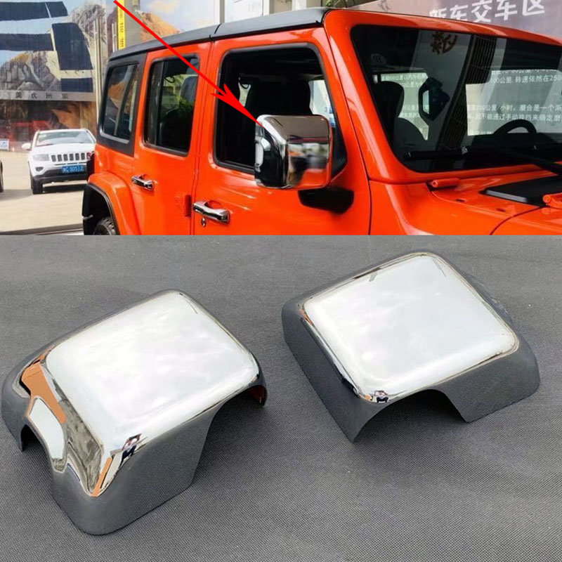 Chrome Side Door Rearview Mirror Cover Trim 2pcs for Jeep Wrangler JL 2018 2019