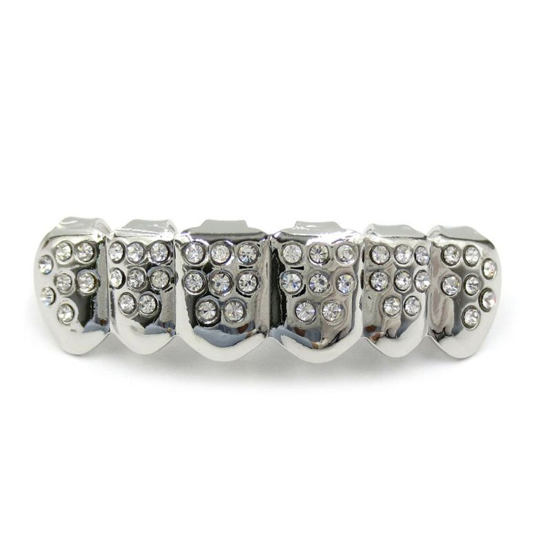 New Fshion Hip Hop Gold Silver Colour Iced Out CZ Teeth Grillz Top Bottom  Men Women Jewelry 3