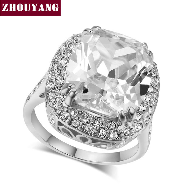 ZHOUYANG Top Quality ZYR080 Big Four Claw Real White Gold Plated Princess Cut Zircon Wedding Ring  Austrian Crystals Wholesale