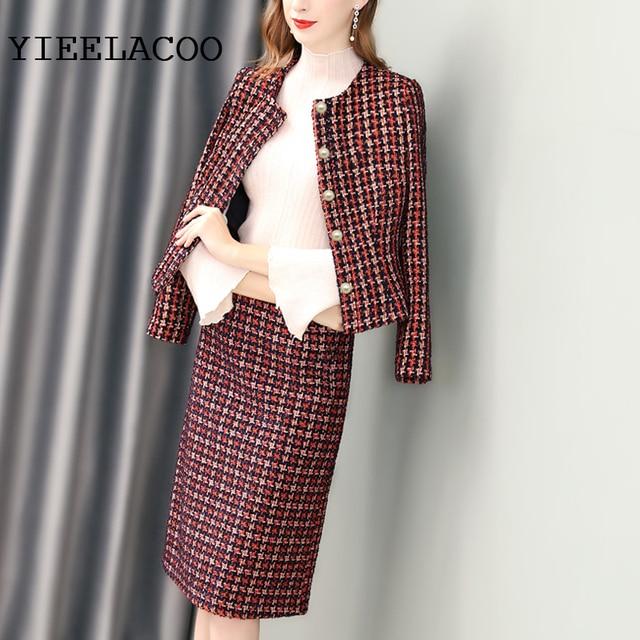 6f46129cc7b7c Red tweed jacket + skirt suit After the slits fashion ladies 2 piece suit 2019  spring   autumn   winter women s jacket suit