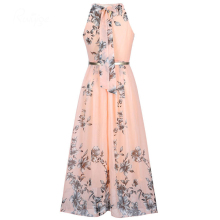 Summer Women Dress Chiffon Floral Print Halter Tunic Sleeveless Pleated Long Maxi Party Boho Dresses With Belt Vestidos