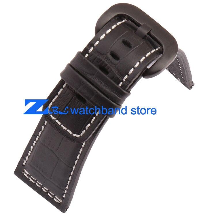 Bracelet en cuir véritable 28mm le bracelet de montre de haute qualité bracelet de montre noir avec blanc cousu pour vendredi hommes montre accessoires - 4
