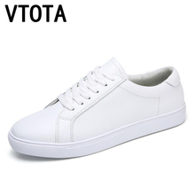 VTOTA Genuine Leather Sneakers Women White Shoes 2018 Spring Platform Shoes Zapatos Mujer Lace-Up Tenis Feminino Casual Flats F7 women genuine leather flats brogue oxford white black platform shoes lace up pointed toe ladies casual shoes zapatos mujer