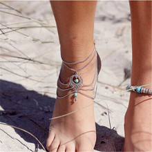Olaru Jewelry Fashion Vinatge Bohemian Tassel Foot Chain Ankles Bracelet For Woman Boho Foot Sexy Cheville Barefoot Sandals Sale
