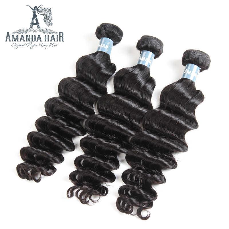 Amanda человеческие волосы пучки малазийские девственные волосы Свободные глубокие волнистые волосы 3 пучка для салона высокое качество малазийские свободные глубокие волосы