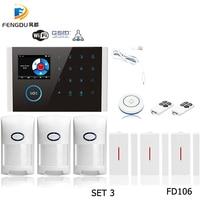 2.4 Inch TFT Color Display Touch Screen GSM WIFI GPRS Alarm Smart Sensor Burglar PIR Wireless Home Security System