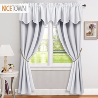 4 Pieces Blackout Curtains & Valances Thermal Insulated Modern Style Drapes for Bedroom&Livingroom, 2 Curtains & 2 Valance