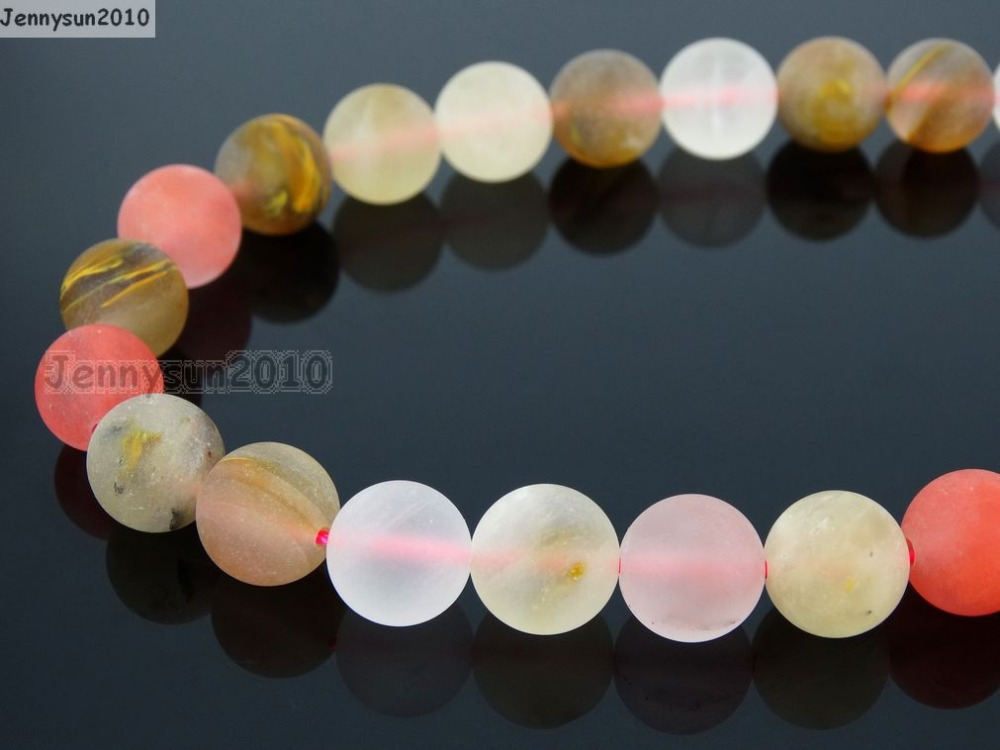 Natural Matte Multi-colored Cherry Quartz 10mm Frosted Gems Stones Round Ball Loose Spacer Beads 15 5 Strands/ Pack Beads & Jewelry Making