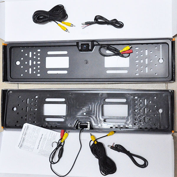 2HD EU UK European Auto Car license plate Number Tag Frame&rear view parking backup camera night vision waterproof DVD TV cables