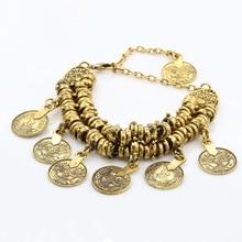 Pameng Bohemian Coin Anklet Antique Silver Color Chain Tassel Turkish Barefoot Sandal Foot Jewelry Boho Bracelet Gold Color