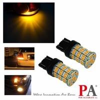PA LED 2PCS x 7443 T20 55SMD LED Car Turn Signal Blinker Light Bulb Orange Amber Yellow 2835 5630 LED 12V PA