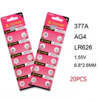 20 pcs AG4 LR626 377A 1.55V 377 Battery For Watch Button Cell Batteries New Brand Watch Accessories Alkaline Electronic Products