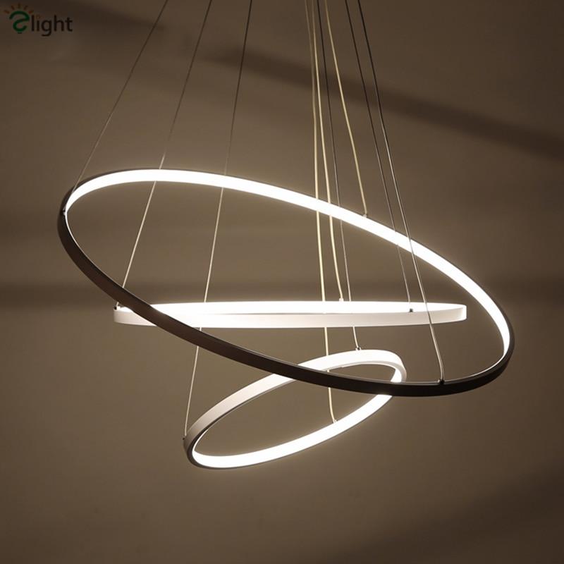 Modern Minimalism Aluminium Lustre Round Led Pendant Light Diy Circle Luminaire Dimmable Led Suspension Lamp Indoor Fixtures circle