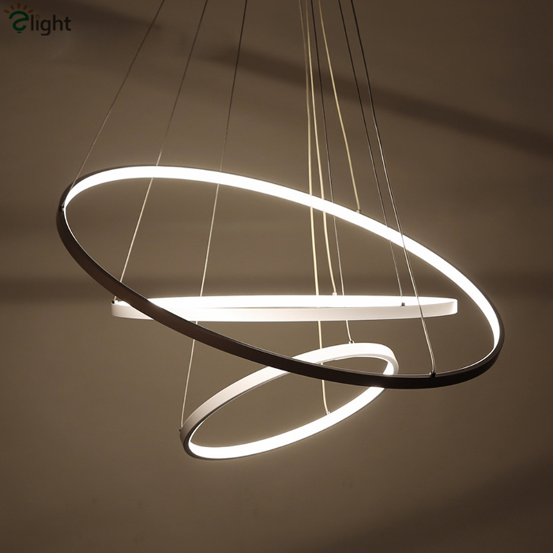 Modern minimalism aluminium lustre round led pendant light for Luminaire suspension sejour