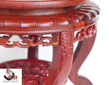Red wingceltis of solid wood carving of Buddha carved mahogany handicraft circular base vase furnishing articles redwood carved wooden furnishing articles wooden red acid branch stone crafts special circular base