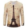 Nuevos hombres de la llegada 3D impreso T-Shirt patrón de la torre Eiffel de hombre moda hip hop camiseta marca ropa de hombre T-Shirt
