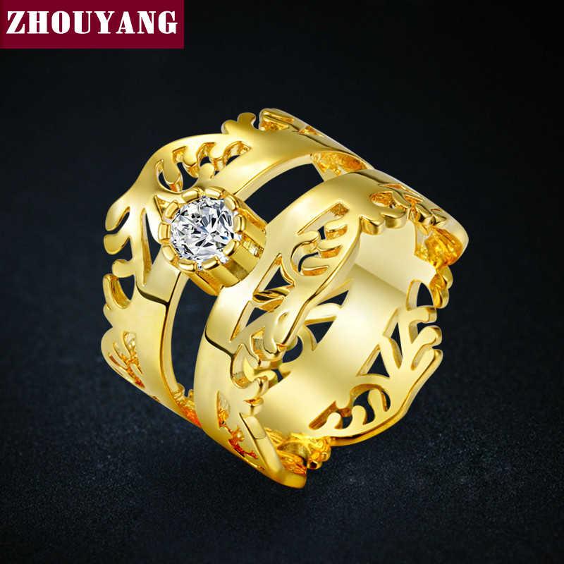 Luxury Gold-สี Hollow-OUT บิ๊กแหวนแฟชั่น Cubic Zirconia เครื่องประดับสำหรับสตรีและผู้ชาย ZYR474