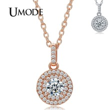 UMODE Classical Design Halo 0.5ct Simulated Diamond White / Rose Gold Plated Pendant Necklaces Jewelry for Women Collier UN0229 ainuoshi 10k solid yellow gold pendant cute bees pendant sona simulated diamond women men jewelry animal design separate pendant