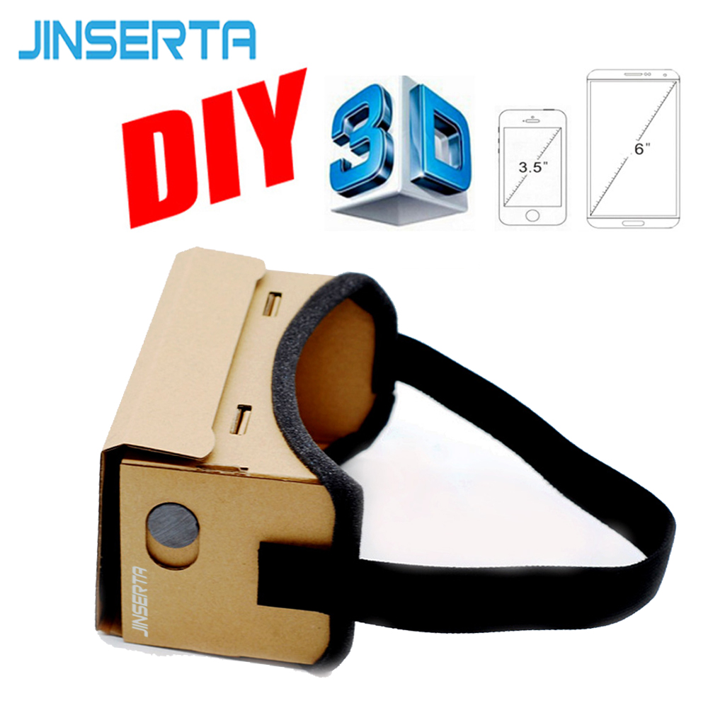 цена на JINSERTA Google Cardboard VR Box DIY VR Virtual Reality 3D Glasses Magnet VR Box Controller 3D VR Glasses for iPhone Samsung