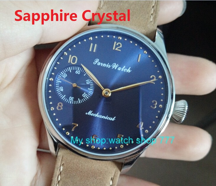 Sapphire crystal 2017 new fashion PARNIS 44mm blue dial 6497 Mechanical Hand Wind movement mens watch wholesaleSapphire crystal 2017 new fashion PARNIS 44mm blue dial 6497 Mechanical Hand Wind movement mens watch wholesale