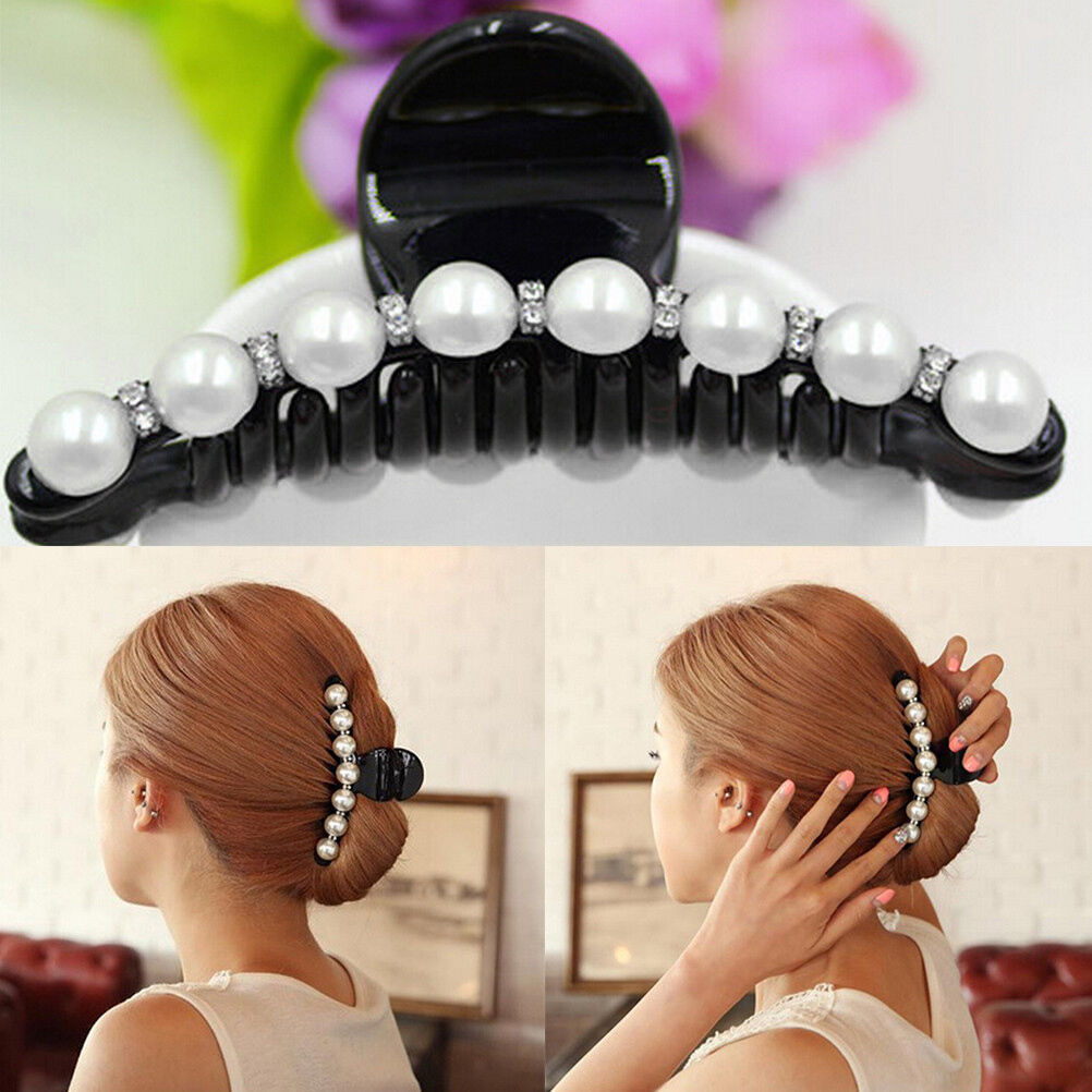 Women Lady Girl Pearl Crystal Hair Clip Clamp Claw Haedpiece Hair Accessories  Hair Clips Hair Bands for Women  Girls