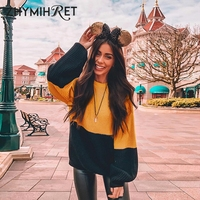 ZHYMIHRET Autumn Winter Patchwork Sweater Long Lantern Sleeve Knitted Pullovers Women Korean Style Casual Truien Dames