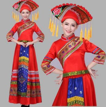 chinese minority costumes for women red festival dance costumes for women national dance costumes miao clothes