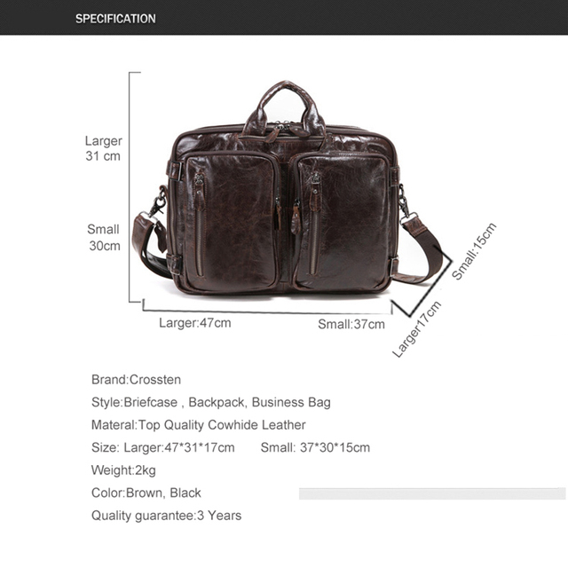 2019 New Natural Cowskin 100% Genuine Leather Men's multifunctional Briefcase Large Capacity Business Shoulder bag 17 Laptop Bag 1