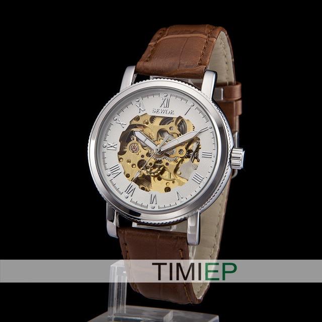 Analog Men Fashion Brown Leather watch Skeleton  Mechanical  WristWatch winter