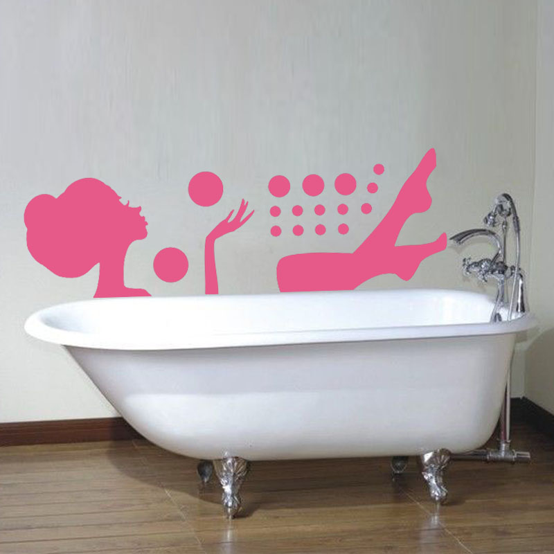 2015 Hot Sale Vinyl Removable Customized Colors Relaxing Bubble Bath Girl Wall Sticker Diy Home Decor