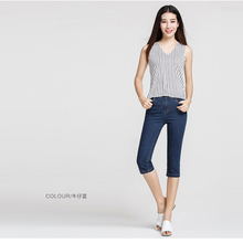 summer straight pants slim jeans fashion all-match capris calf-length lady jeans pants free shipping