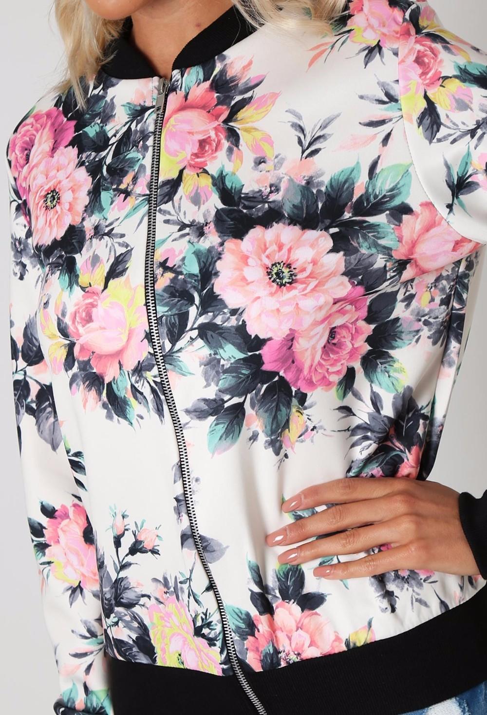 Kwiat Drukuj Kobiety Podstawowe Płaszcze Długim Rękawem Zipper Bomber Jacket Casual Kurtka Płaszcz Jesień Zima Streetwear sukajan 9