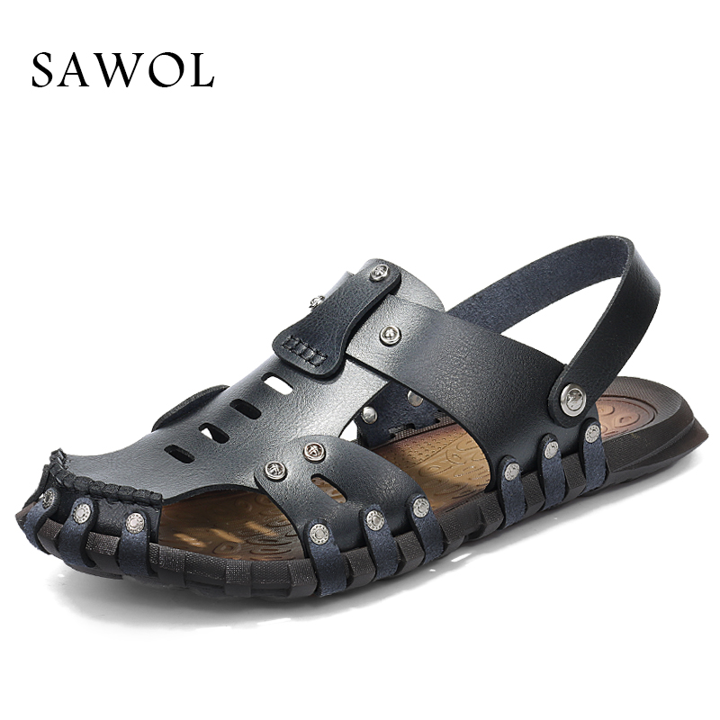 Sawol Men Sandals Men Beach Sandals Brand Men Casual Shoes Sneakers Men Slippers Flip Flops Genuine Split Leather Summer Shoes eurosvet люстра eurosvet bogate s 605 6