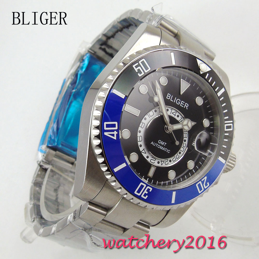 New 43mm Bliger black dial blue & black ceramic bezel date window GMT sapphire glass Mingzhu Automatic movement Men's Watch new forcummins insite date unlock proramm