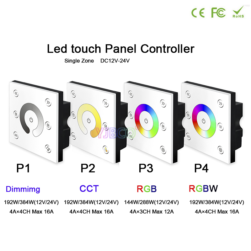 BC Wall-mounted Brightness wireless remote led dimming/CCT/RGB/RGBW Touch panel controller for LED Strip Light lamp,DC12V-24V