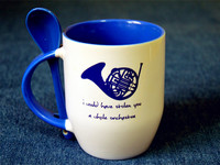 New Quality How I Met Your Mother Blue French Horn Ceramic Coffee Mug Cup With Spoon