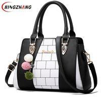 Fasion Women Brand New Design Handbag Black And White Stripe Tote Bag Female Shoulder Bags High