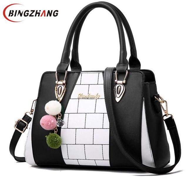 599316d140 Mode femmes tout nouveau Design sac à main noir et blanc rayure sac fourre- tout