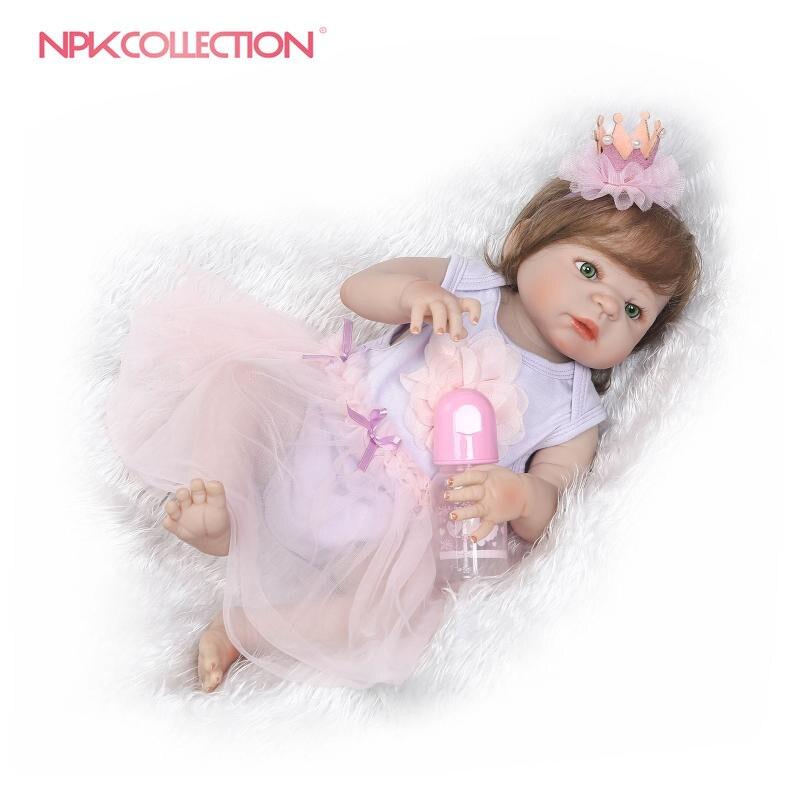 NPKCOLLECTION 22 дюймов 55 см Кукла реборн 2017 продвижение Реалистичного Новорожденные прекрасный подарок для девочек boneca reborn menina