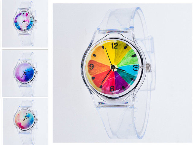 Transparent Watch Silicon Watches Women Sport Casual Quartz Wristwatches Novelty Crystal Ladies Cartoon Reloj Mujer