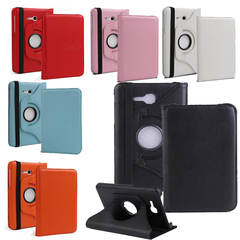 360 Rotary For Samsung T110 Flip PU Bracket Standing Funda PU Case For Samsung Galaxy Tab 3 7.0 Lite T110 T111 Protective Case plaid pattern 360 degrees rotary pu case w stand for samsung galaxy tab 3 lite t110 t111 red